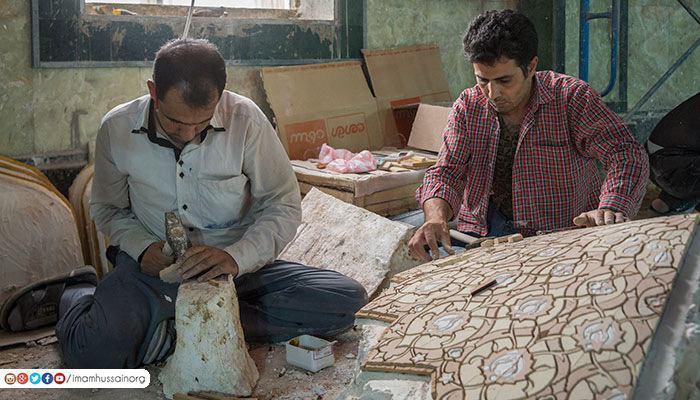 معرق کاری حرم مطهر امام حسین علیه السلام توسط گروهی از معرق کاران برجسته ایرانی