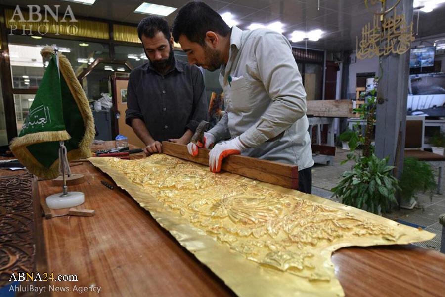 پایان قلمزنی نوار بالایی ضریح جدید حضرت عباس(ع) / گزارش تصویری