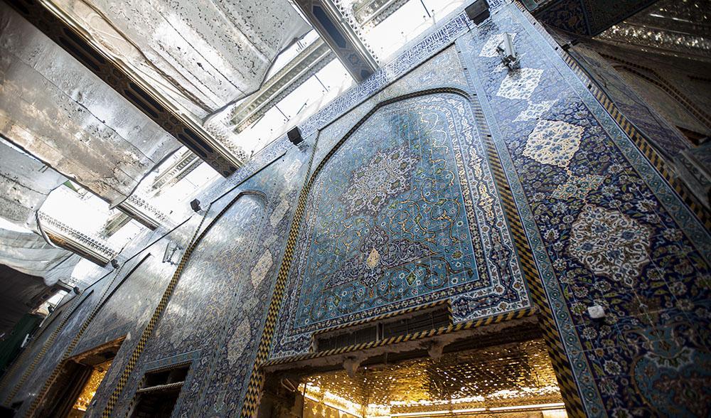 گزارش تصویری از ترمیم دیوار حرم حضرت عباس (ع)
