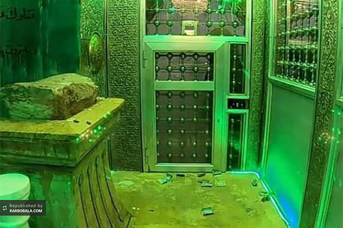 سنگ میزبان سر امام حسین (ع) به جایگاه اصلی بازگشت