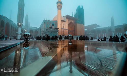 درخشش بارگاه نورانی علوی در میان باران و مه غلیظ / گزارش تصویری