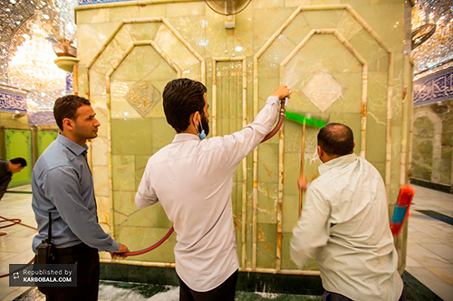 ضدعفونی و مفروش کردن حرم مطهر حضرت اباالفضل (ع)/ گزارش تصویری
