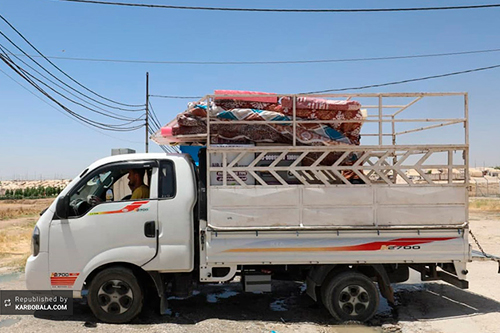 کمکرسانی آستان حسینی به حادثه دیدگان مسیحی و ایزدی/ تصویر