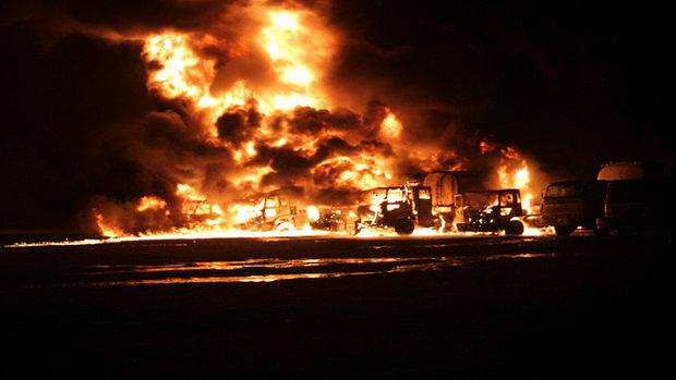 انهدام 20 تانکر نفت داعش در مسیر ترکیه