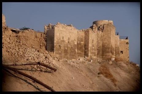 تخریب بخشی از قلعۀ باستانی حلب بر اثر انفجار بمب