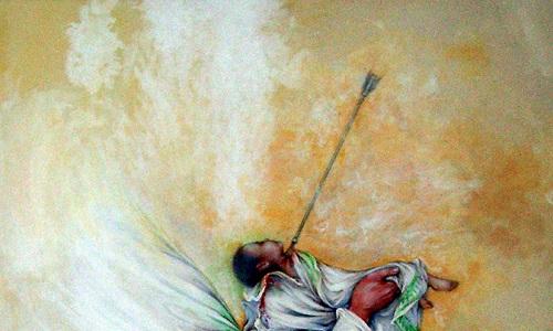 شهادت حضرت علی اصغر(ع) بر اثر تیری پیکانی شکل بوده است
