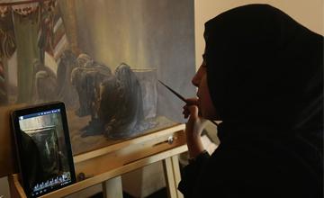 گزارش تصویری از برگزاری کارگاه نقاشی با موضوع بانوان در عاشورا