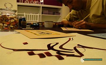 کتابت نام بانوان موثر در واقعه عاشورا توسط استاد بحرینی