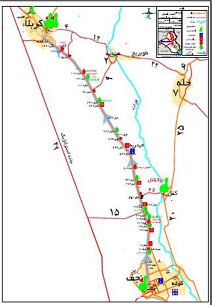 مسیر پیادهروی اربعین و موقعیت موکبهای ایرانی/ دانلود نقشه