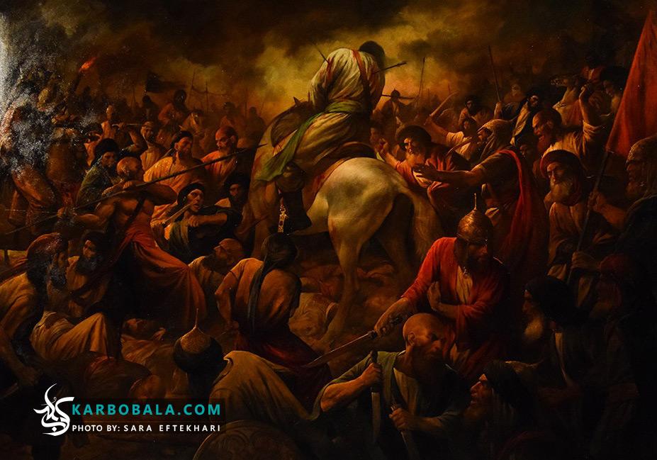 آیین رونمایی از اثر نقاشی عاشورایی حسن روح الامین با عنوان عرش بر زمین افتاد، برگزار شد + عکس