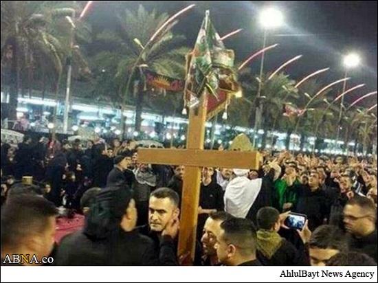 صلیب مسیحیان در بین الحرمین کربلا
