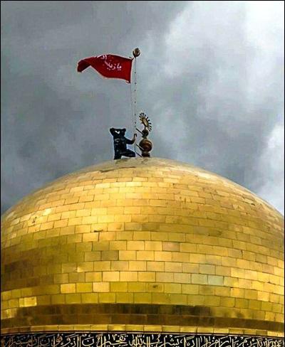 اولین پرچم حضرت رقیه(س) به حرم رضوی رسید