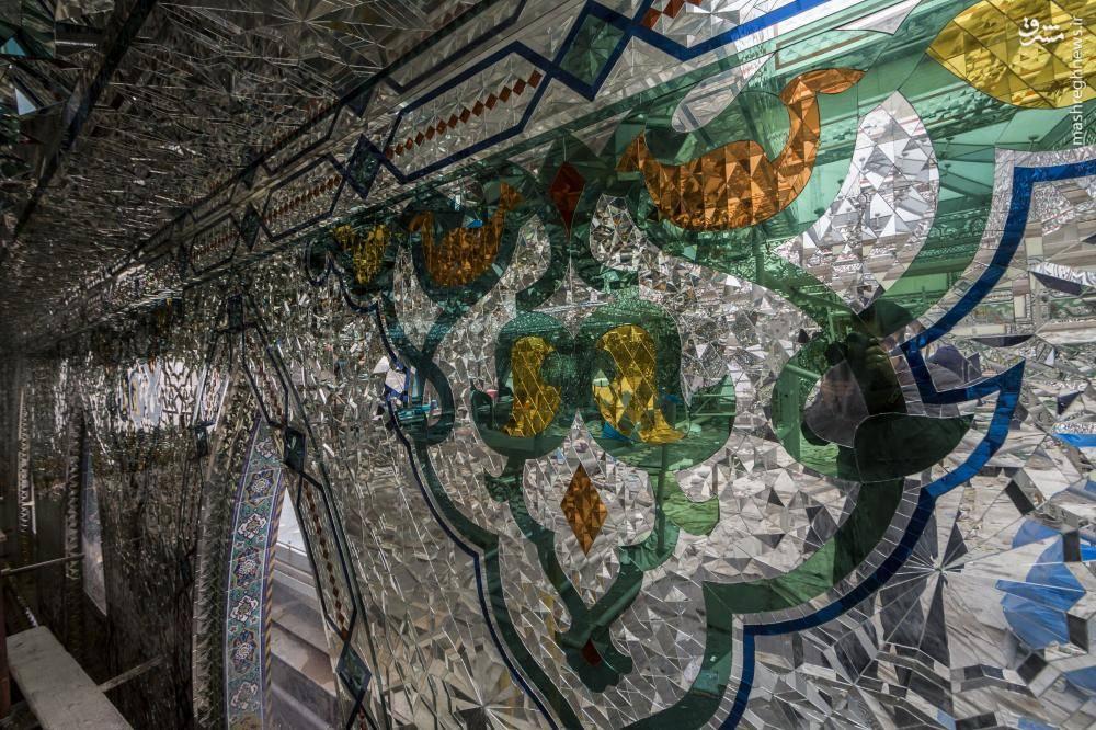تصاویری از مسقف کردن و آینه کاری صحن حضرت ابوالفضل العباس (ع) در کربلا