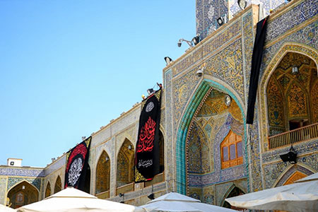 بارگاه امیر مؤمنان (ع) در سوگ پیامبر اعظم/ گزارش تصویری