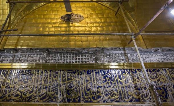 کتیبه هایقرآنی ایوان طلای حرم حضرت عباس(ع)