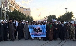 تظاهرات صدها عراقی در کربلا در محکومیت اعدام شهید شیخ باقر النمر