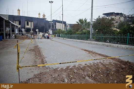 آغاز سنگ فرش صحن حضرت زینب در کربلا / تصاویر
