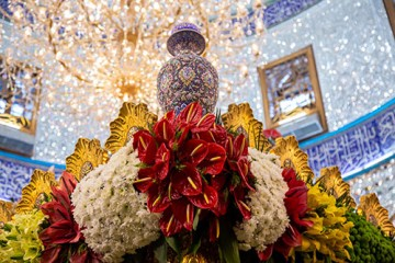 گل آرایی حرم سیدالشهدا (ع) در آستانه سوم شعبان / گزارش تصویری