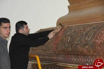 مونتاژ ضریح جدید حضرت عباس (ع) به پایان رسید + تصاویر
