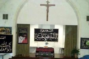 وقتی کلیسا هم به عشق امام حسین علیه السلام سیاه پوش شد / عکس