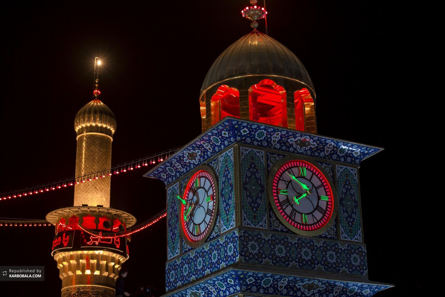 تصویری از برج ساعت حرم قمر منیر بنی هاشم علیه السلام